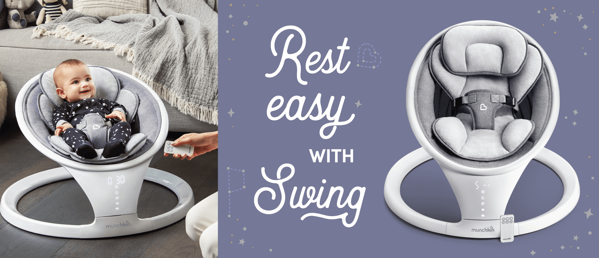 Soothe your little one with Munchkin's lightweight, Bluetooth-enabled baby rocker